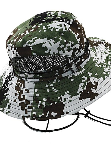 billige Tilbehør-Hatt til turbruk Solhatt UV-beskyttende lue Hatt UV-bestandig Vår Sommer Grønn Unisex Fisking Utendørs Trening Kamuflasje / Bomull