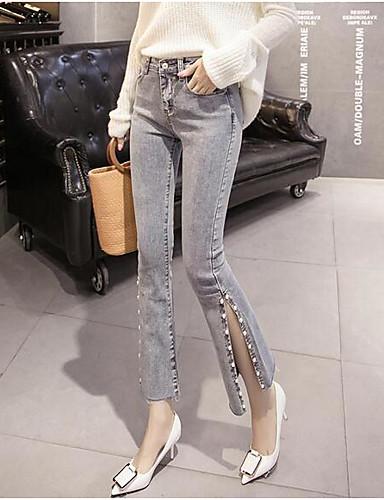 בגדי ריקוד נשים וינטאג' כותנה ג'ינסים מכנסיים - גיזרה נמוכה אחיד / חורף