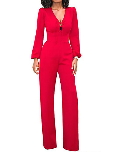cheap Women's Jumpsuits & Rompers-Women's Wide Leg Daily V Neck Blue Black Red Wide Leg Jumpsuit, Solid Colored M L XL High Waist Long Sleeve Summer Fall