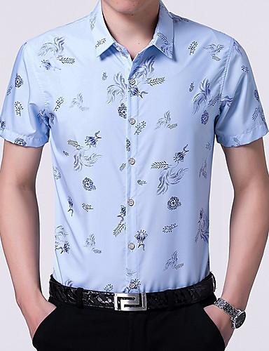 פרחוני מידות גדולות חולצה - בגדי ריקוד גברים / שרוולים קצרים