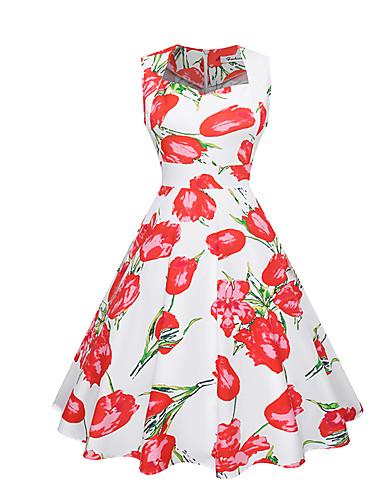 צווארון U מותניים גבוהים עד הברך פרחוני - שמלה נדן סווינג כותנה סגנון רחוב עבודה חגים בגדי ריקוד נשים