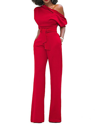 Women's Holiday Simple Solid Round Neck Jumpsuits Short Sleeves Spring Summer Cotton