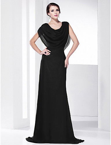 cheap Evening Dresses-Sheath / Column Cowl Neck Sweep / Brush Train Chiffon Formal Evening Dress with Draping by TS Couture®