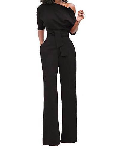 povoljno Ženske majice-Žene Wide Leg Kentucky Derby Na jedno rame Lila-roza Svjetloplav Vojska Green Wide Leg Jumpsuits, Jednobojni L XL XXL Kratkih rukava Proljeće Ljeto / Slim