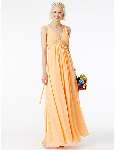 9722cea42992 Ίσια Γραμμή Λαιμόκοψη V Μακρύ Σιφόν Φόρεμα Παρανύμφων με Πούλιες   Πλαϊνό  ντραπέ   Βολάν με