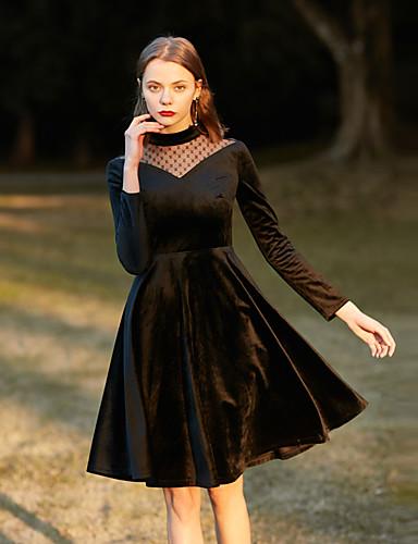 מותניים גבוהים אחיד - שמלה גזרת A בגדי ריקוד נשים