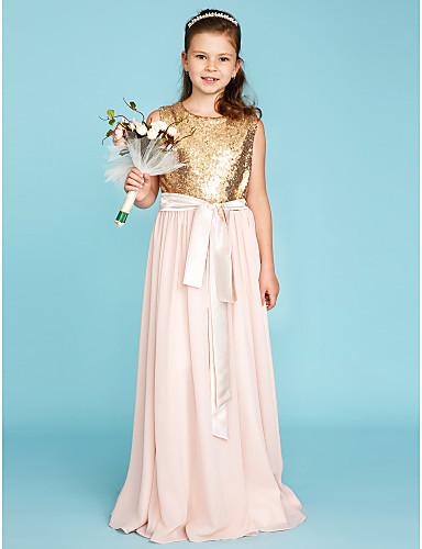 גזרת A עם תכשיטים שובל סוויפ \ בראש שיפון / נצנצים שמלה לשושבינות הצעירות  עם נצנצים / סרט / קפלים על ידי LAN TING BRIDE®