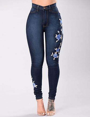 בגדי ריקוד נשים כותנה ג'ינסים מכנסיים אחיד / סתיו / רקמה / דפוסי פרחים