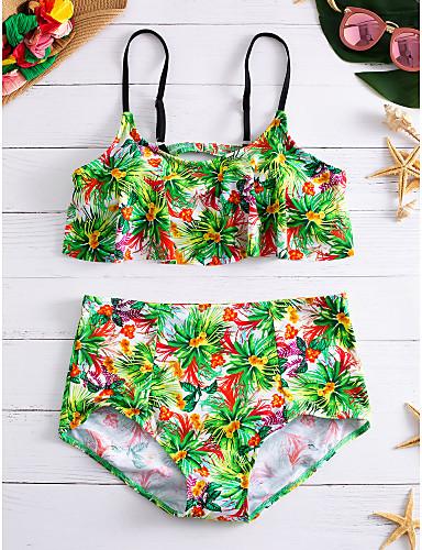 Mulheres Nadador Floral Biquíni - Floral / Cintura Alta