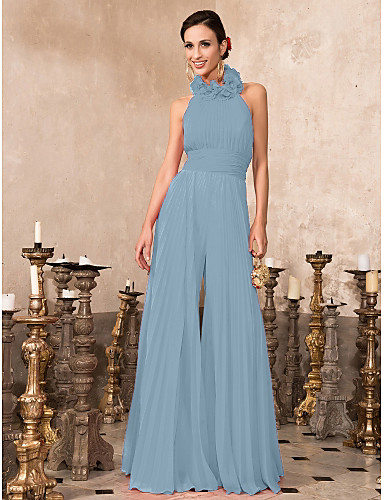 7438d3ac10d Oscar de la Renta Style Jumpsuit Halter Neck Floor Length Chiffon Formal  Evening Dress with Pleats by TS Couture®