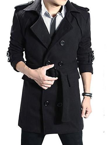 אחיד צווארון חולצה ארוך מעיל - בגדי ריקוד גברים, גדול כותנה / שרוול ארוך