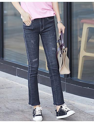בגדי ריקוד נשים כותנה ג'ינסים / צ'ינו מכנסיים - גיזרה גבוהה אחיד / סתיו
