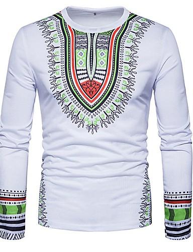 billige T-shirts og undertrøjer til herrer-Rund hals Tynd Herre - Tribal Bomuld, Trykt mønster Boheme T-shirt Rød / Langærmet / Forår / Efterår