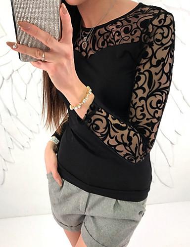 hesapli Tişört-Kadın's Tişört Nakış, Solid Sokak Şıklığı Dışarı Çıkma Siyah / Bahar / Sonbahar / Dantel
