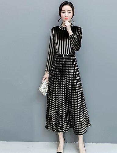 6f992ea819f Γυναικεία Μεγάλα Μεγέθη Swing Φόρεμα - Ριγέ Τετράγωνο Καρό Μακρύ Όρθιος  Γιακάς