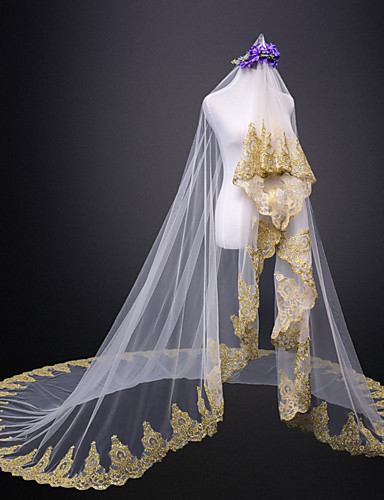 שכבה אחת חתונה / ירח דבש הינומות חתונה צעיפי קתדרלה עם תחרה טול / קלאסי