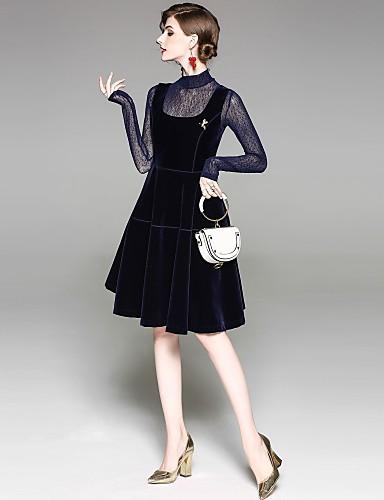 מעל הברך רשת, אחיד - שמלה נדן סגנון רחוב חגים בגדי ריקוד נשים