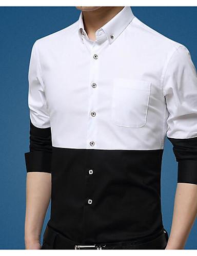 קולור בלוק צוארון עם כפתור רזה עבודה חולצה - בגדי ריקוד גברים בסיסי שחור ולבן / שרוול ארוך