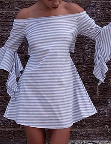 סירה רחב מעל הברך פסים - שמלה משוחרר יום יומי בגדי ריקוד נשים / קיץ