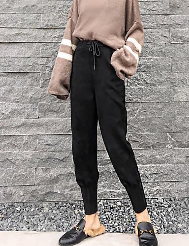 בגדי ריקוד נשים כותנה צ'ינו מכנסיים - גיזרה גבוהה אחיד