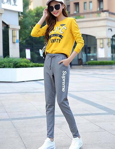 בגדי ריקוד נשים כותנה מכנסי טרנינג מכנסיים דפוס