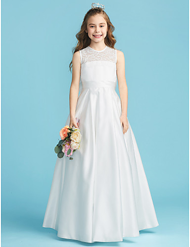 a153dac187e A-Line   Princess Jewel Neck Floor Length Lace   Satin Junior Bridesmaid  Dress with Bow(s)   Lace   Pleats by LAN TING BRIDE®