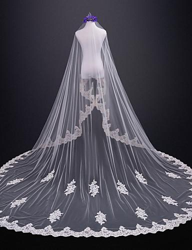 שכבה אחת ירח דבש חתונה הינומות חתונה צעיפי קתדרלה עם תחרה טול