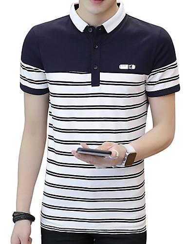 פסים צווארון חולצה רזה סגנון רחוב עבודה כותנה, Polo - בגדי ריקוד גברים / שרוולים קצרים