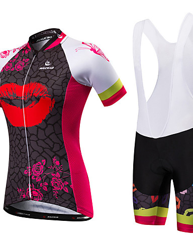 cheap Cycling Clothing-Malciklo Women's Short Sleeve Cycling Jersey with Bib Shorts - Red / White Black / Red British Plus Size Bike Jersey Bib Tights Breathable Quick Dry Anatomic Design Ultraviolet Resistant Reflective