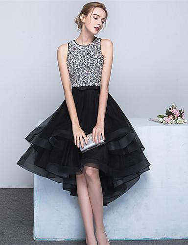 Ballkleid Schmuck Asymmetrisch Satin Tüll Cocktailparty Kleid mit Perlenstickerei Schleife(n) Schärpe / Band durch TS Couture®