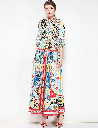 עומד מקסי בסיסי, פרחוני - שמלה סווינג מידות גדולות בוהו בגדי ריקוד נשים