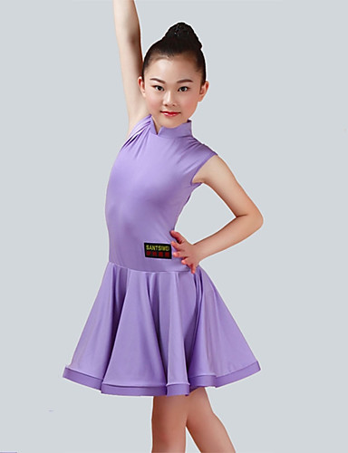 eda64ea7e Latin Dance Dresses Girls' Performance Spandex Ruching Sleeveless Dress