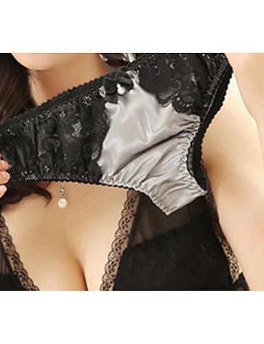 בגדי ריקוד נשים נורמלי סטרצ'י (נמתח) קולור בלוק - דק תחתונים סקסיים(ניילון)1 אפור