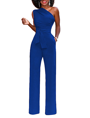 b777eb23f774 Women s Party   Going out Street chic One Shoulder Blue Black Red Wide Leg  Slim Jumpsuit
