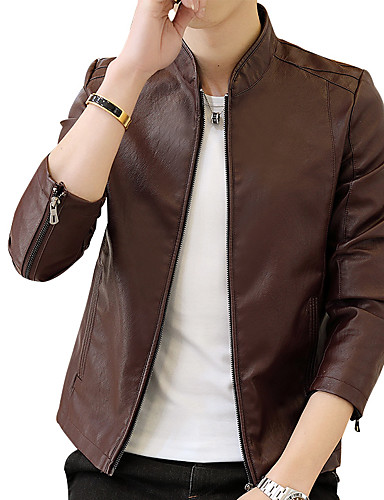 Men's Work Punk & Gothic Street chic Plus Size Leather Jacket-Solid Colored