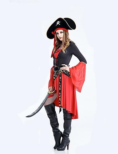 voordelige Cosplay & Kostuums-Pirates of the Caribbean Cosplay Kostuums Halloween Carnaval Festival / Feestdagen Stretch Satijn Rood Carnaval Kostuums Effen