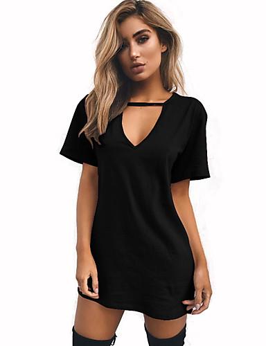 abordables Hauts pour Femmes-Tee-shirt Femme, Couleur Pleine - Coton Sortie Col en V Vin / Eté
