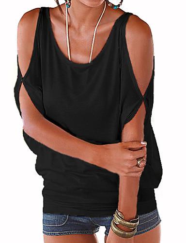 Accurato T-shirt Per Donna Per Uscire Moda Città Tagliato, Tinta Unita Viola L - Estate - Largo #06542643 Rafforza Tendini E Ossa