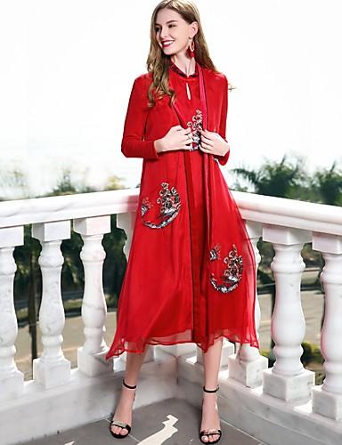 עומד מידי צבע אחיד - שמלה משוחרר משי וינטאג' / בסיסי / סגנון סיני חגים בגדי ריקוד נשים
