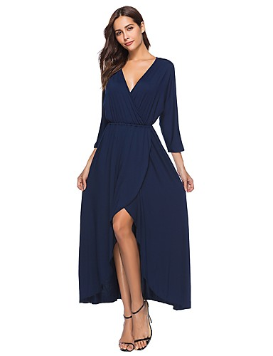fbae3a9ea6a Women s Plus Size Party Daily Boho Batwing Sleeve Asymmetrical Loose Loose  Swing Dress - Solid Color Blue