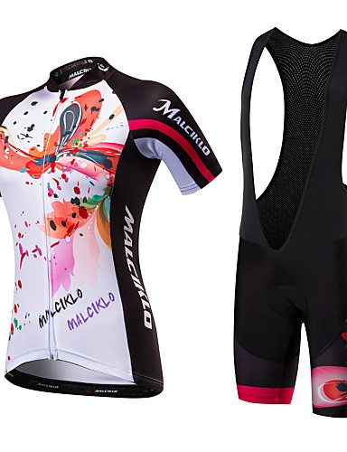 cheap Cycling Clothing-Malciklo Women's Short Sleeve Cycling Jersey with Bib Shorts Black / White Black / Red Floral Botanical Bike Clothing Suit Breathable Quick Dry Anatomic Design Ultraviolet Resistant Reflective Strips