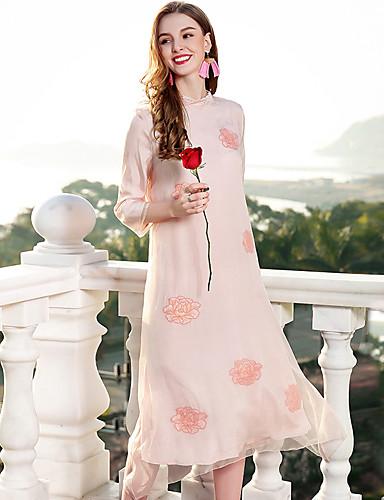 צווארון עגול קצר בסיסי, צבע אחיד - שמלה גזרת A משוחרר סגנון סיני בגדי ריקוד נשים