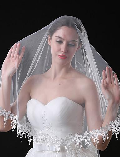 שכבה אחת סגנון מודרני / חתונה / סגנון מינימליסטי הינומות חתונה צעיפי מרפק עם גדילים (פרנזים) / שחבור תחרה / טול / סגלגל