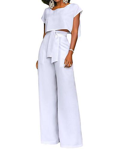 d3aa1c94473 Γυναικεία Κοντό Αμάνικη Μπλούζα / Σετ - Συμπαγές Χρώμα, Πλατύ Πόδι Ψηλή  Μέση Παντελόνι / Καλοκαίρι