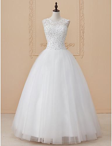 Ballkleid U-Ausschnitt Boden-Länge Perlen Spitze Benutzerdefinierte Brautkleider mit Perlenstickerei Applikationen durch LAN TING BRIDE®
