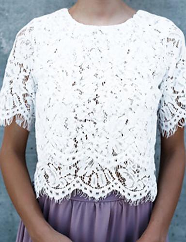 אחיד סגנון רחוב טישרט - בגדי ריקוד נשים תחרה גב חשוף