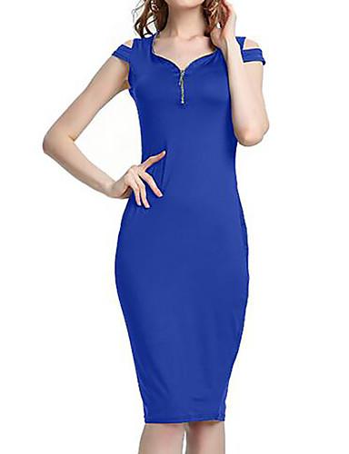 צווארון V עד הברך צבע אחיד - שמלה נדן רזה בסיסי בגדי ריקוד נשים / קיץ