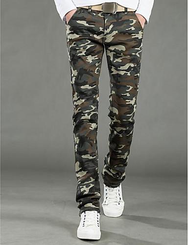 Męskie Bawełna Typu Chino Spodnie - Nadruk, Jendolity kolor