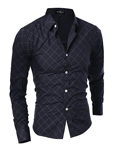Houndstooth רזה בסיסי / סגנון סיני חולצה - בגדי ריקוד גברים / שרוול ארוך