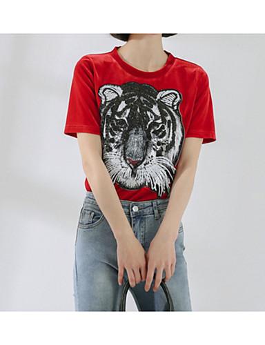 T-shirt Damskie Podstawowy, Cekiny Bawełna Szczupła - Zwierzę / Lato